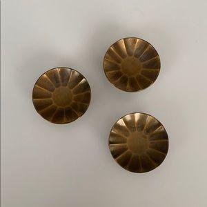 Vintage Set of 3 Brushed Brass Knobs 1970s